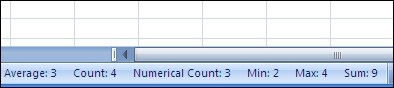 Status bar showing calculations and counts of selected cells