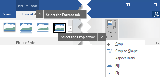 Crop button found on the Picture Tools Format tab
