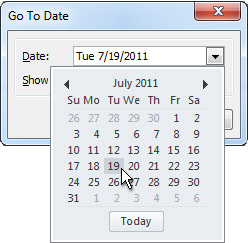Go to Date dialog box with Date Navigator