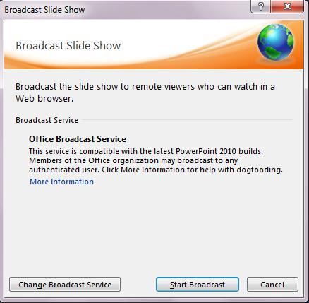 Click Start Broadcast