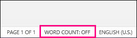 Word Count Disabled