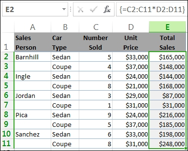 The totals in column E are calculated by an array formula