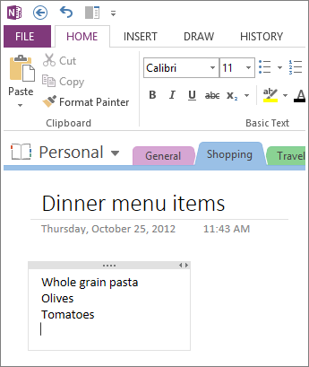 Click anywhere to type notes in OneNote.