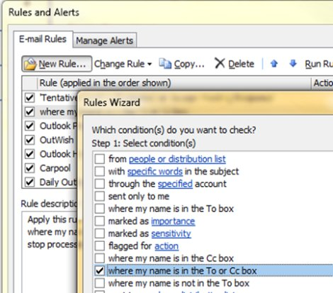 Rules Wizard in Outlook 2007