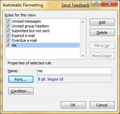 Automatic formatting options in Outlook 2007