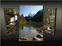 Custom animation effects: picture triptych, slide 3, center picture grow and return