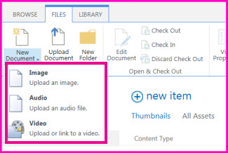 Screenshot of the New Document menu in a media Asset Library on SharePoint