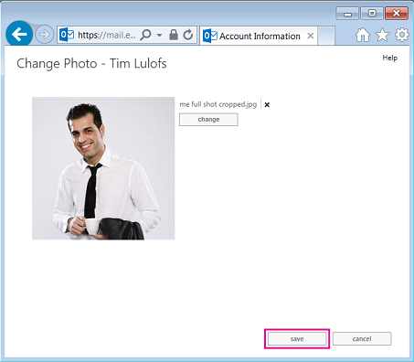 Screenshot of Change Picture dialog with Save highlighted