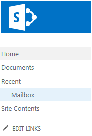 Mailbox listed under Recent on the Quick Launch