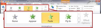 The Animations tab in the PowerPoint 2010 ribbon