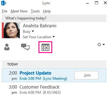 Meetings view in Lync main window