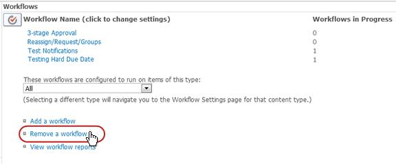 Workflow Settings page with Remove a workflow link called out