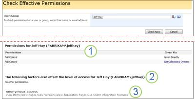 Check effective permissions of a user or group