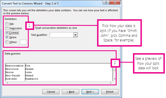 Step 2 in the Convert Text to Columns Wizard