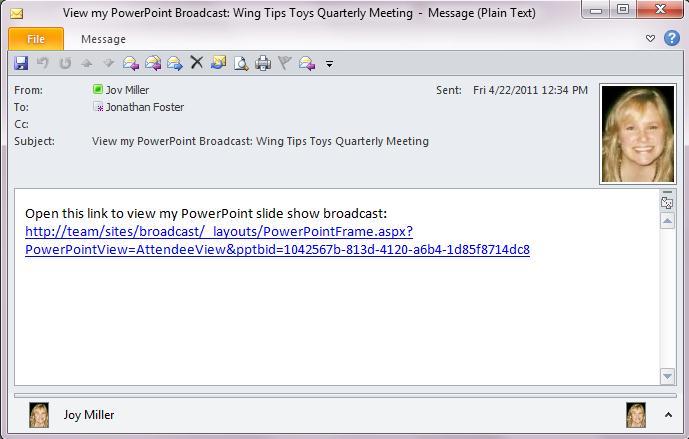 Send the broadcast URL