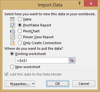 Import Data window