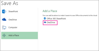 Save to OneDrive option