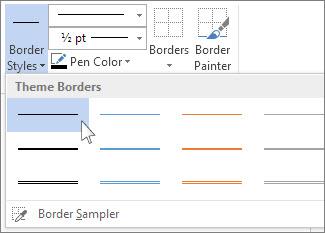 Table border styles