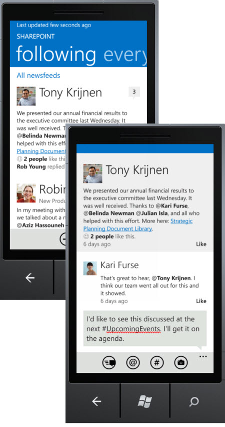 Screenshots of the newsfeed and a reply to a newsfeed post in the SharePoint Newsfeed app