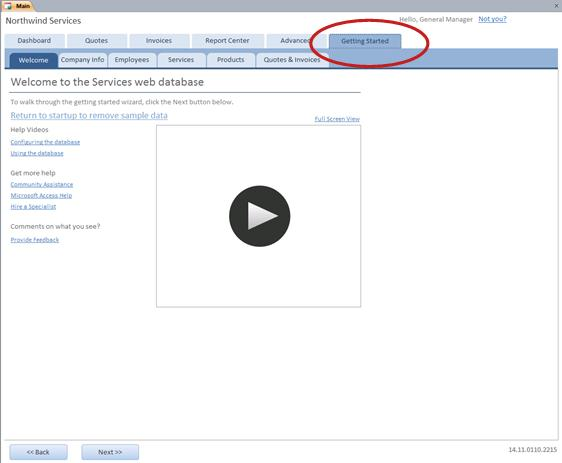 Getting Started tab of the Services Web Database template