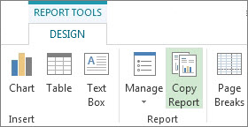 Copy Report button on the Report Tools Design tab