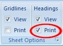 Printing row/column headings