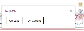 The Actions dialog in a web datasheet view