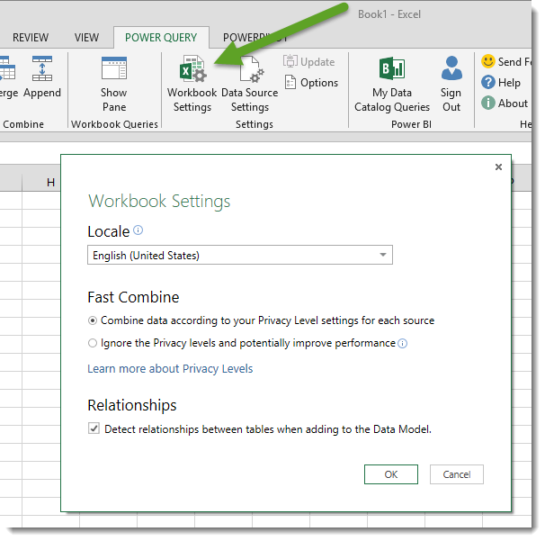 Workbook Settings dialog