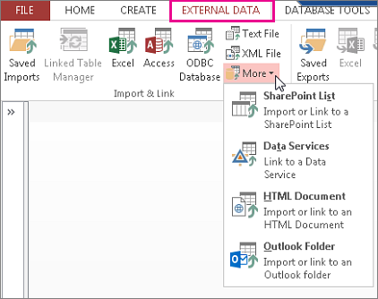 External data tab options
