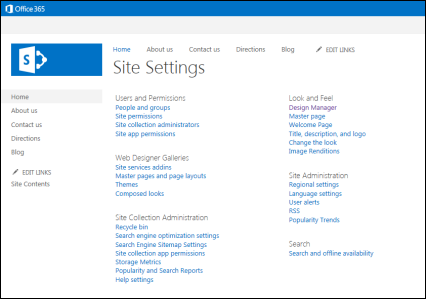 Screen shot of Site Settings page
