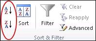 quick sort buttons in the sort and filter group on the data tab