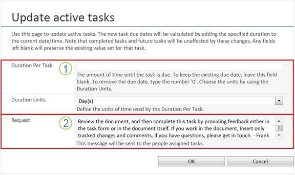 Change form for active tasks