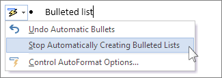 AutoCorrect options menu