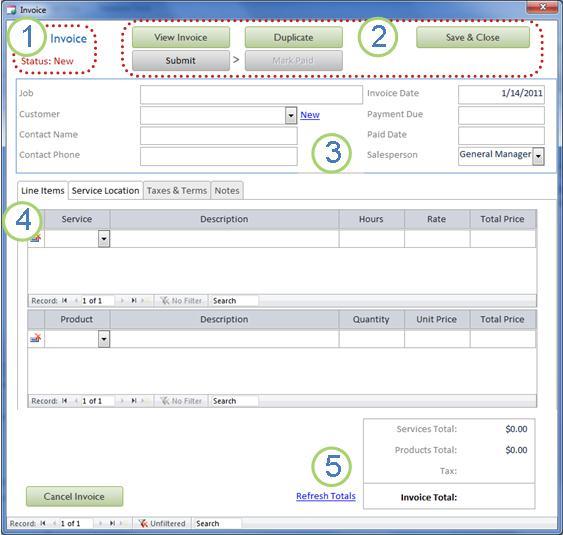 Invoice Details form