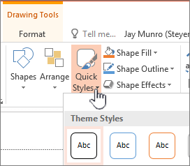 quick styles drawing tool