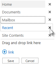 Moving Mailbox and deleting Recent on the Quick Launch