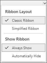 Menu for changing the menu in Microsoft 365.