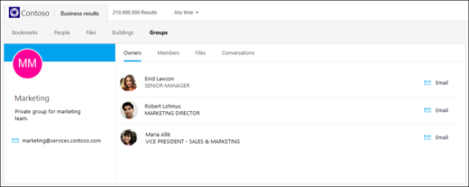 screen capture: showing the groups search from bing for business.