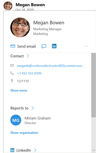 Change profile screen in Yammer