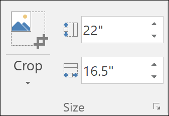 Screenshot showing height and width settings