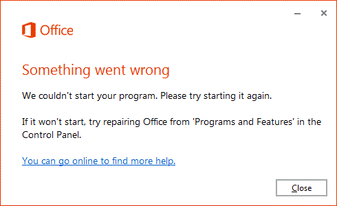 """Something went wrong"" error when open Office app"