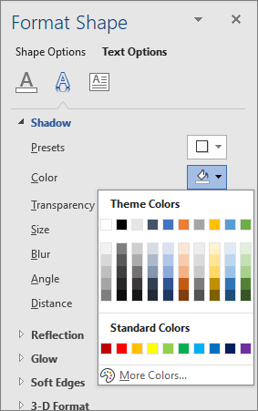 WordArt Shadow colors selection