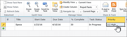 Fill in the title, dates, and status of your project task