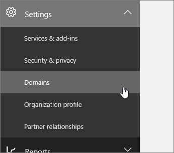 Click Setup then Domains in the left navigation pane