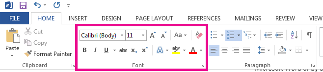 The font tools are on the Home tab