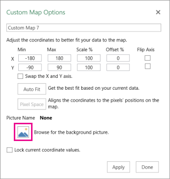 Custom map options dialog box