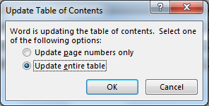 Update Table of Contents dialog box