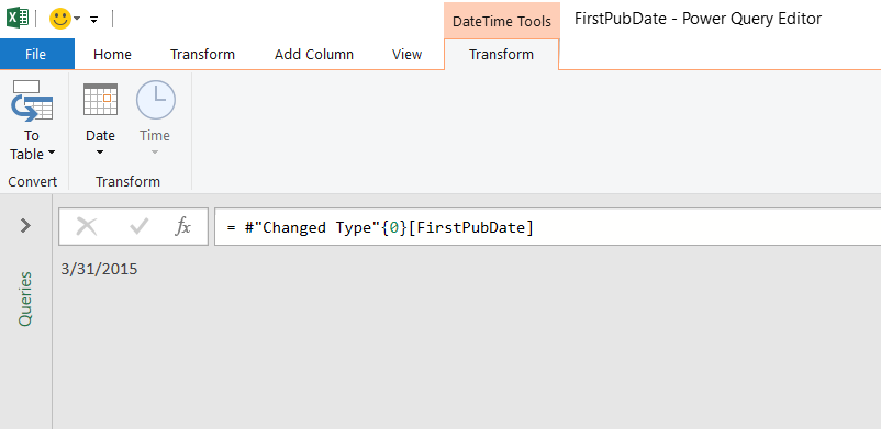 Power Query Editor displaying a single date value