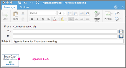 An Email Message With Signature Block