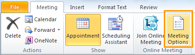 Meeting Options button in the meeting invitation